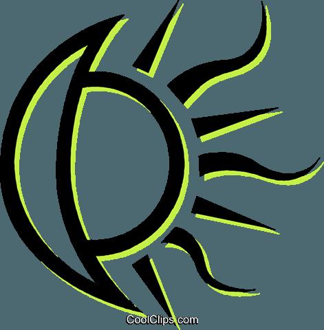 471x480 Moon And Sun Royalty Free Vector Clip Art Illustration Vc035115