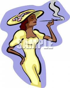 239x300 A Woman In A Sundress And Sun Hat With A Cigarette