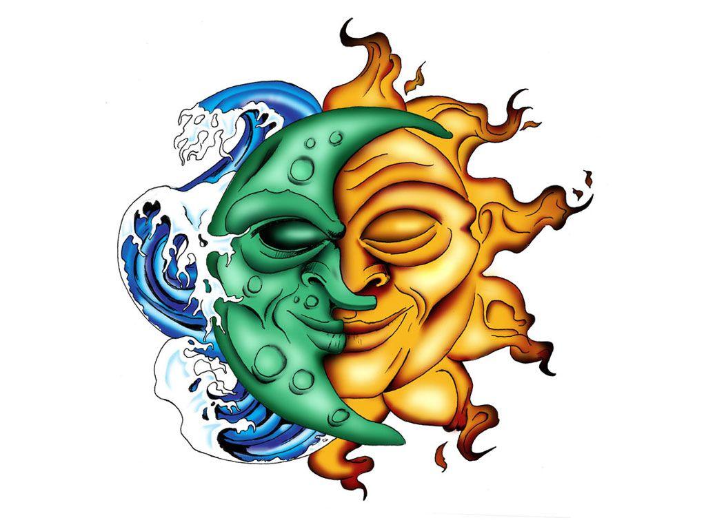 1024x768 Half Moon Half Sun Tattoo Design