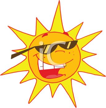 344x350 Image Of A Bright Sun Wearing Sunglasses And Smiling In A Vector
