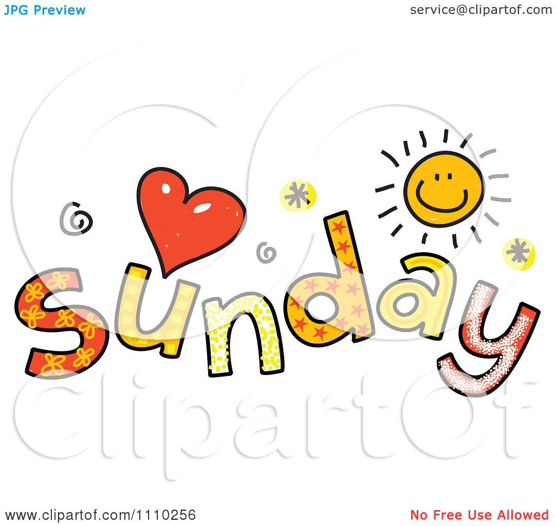 1080x1024 Clipart Colorful Sketched Sunday Text