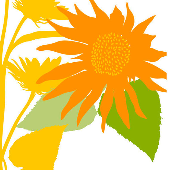 570x570 Sunflower Clip Art Silhouettes, Summer Sun Flower Clipart, Country