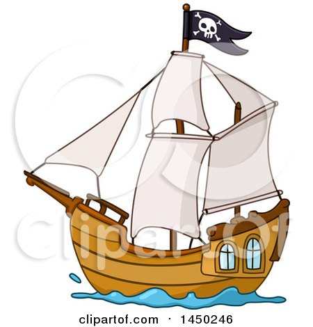 450x470 Clipart Graphic Of A Cartoon Sailing Pirate Ship Flying A Jolly