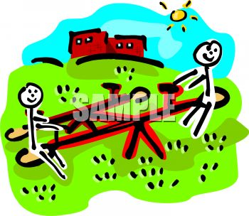 350x304 Stick Figure Kids Playing On A Teeter Totter On A Sunny Summer Day
