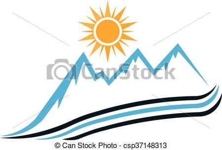 450x305 Sunny Mountain Way Logo. Vector Graphic Design Vector Clip Art