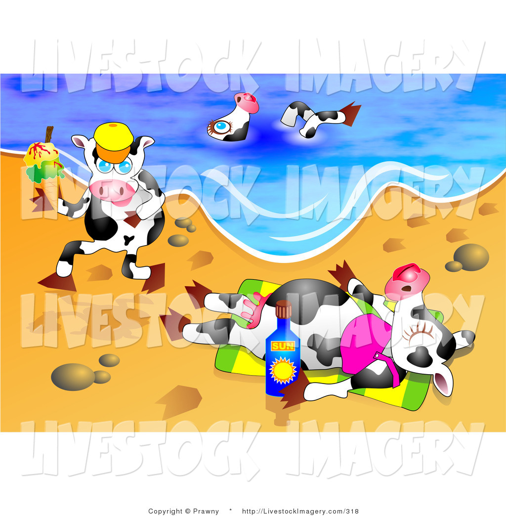 1024x1044 Clip Art Of A Trio Of Dairy Cows On Vacation, Swimming, Running