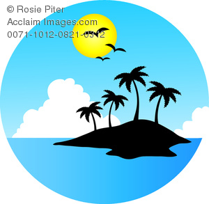 300x293 Clipart Image Of The Silhouette Of An Island On A Clear Sunny Day