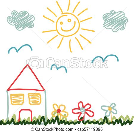 450x444 Kids Drawing Of Sunny Day House Eps Vectors