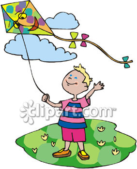 283x350 Little Boy Flying A Kite On A Sunny Spring Day