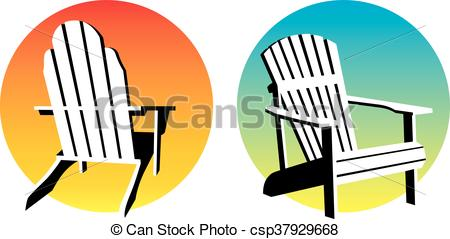 450x239 Adirondack Chair Sunset Graphics. Vector Illustrations Of Clip