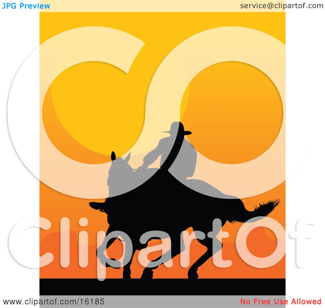1080x1024 Western Cowboy Riding A Horse And Silhouetted Against An Orange