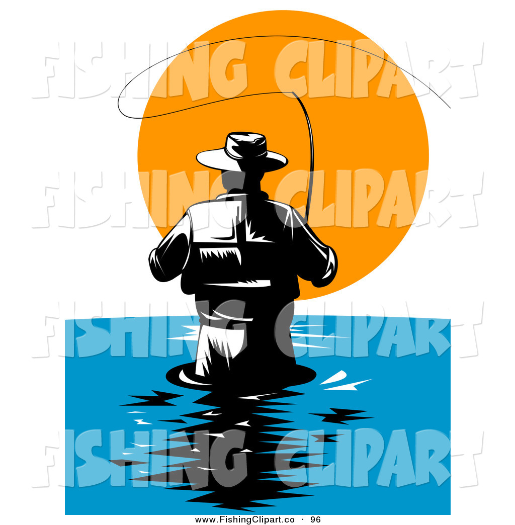 1024x1044 Clip Art Of A Behind View Of A Wading Fly Fisherman Against