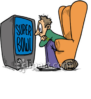 322x350 Royalty Free Clipart Image Man Glued To Television