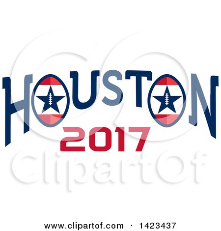 450x470 Clipart Of A Retro Super Bowl 51 Houston 2017 Football Design