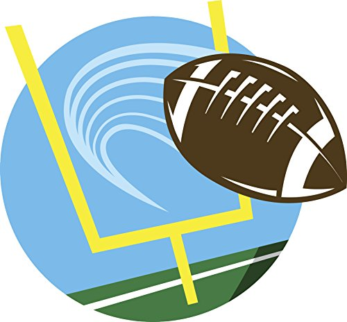 500x464 Flying Football In Endzone Cartoon Icon Vinyl Decal