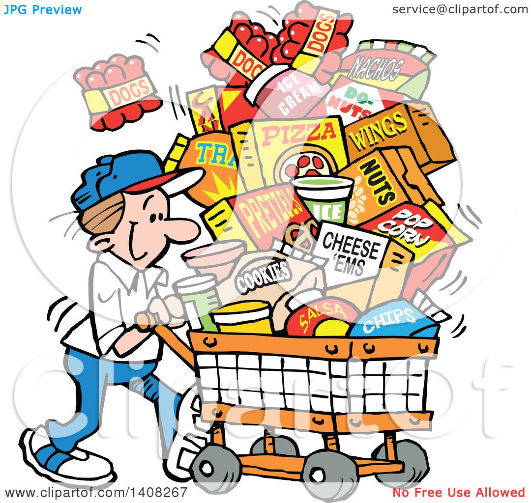 1080x1024 Clipart Of A Cartoon Caucasian Man Grocery Shopping For Superbowl