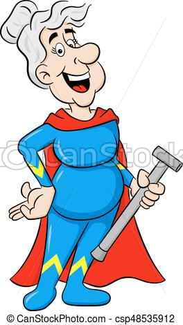 264x470 Vector Illustration Of A Senior Super Heroine With Cape Vector