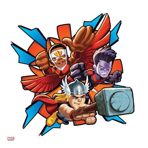473x473 Marvel Super Hero Squad Badge Falcon, Thor, And Wonder Man Flying