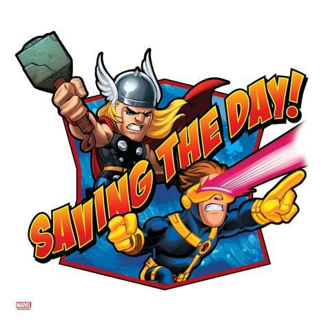 473x473 Marvel Super Hero Squad Badge Saving The Day! Thor And Cyclops