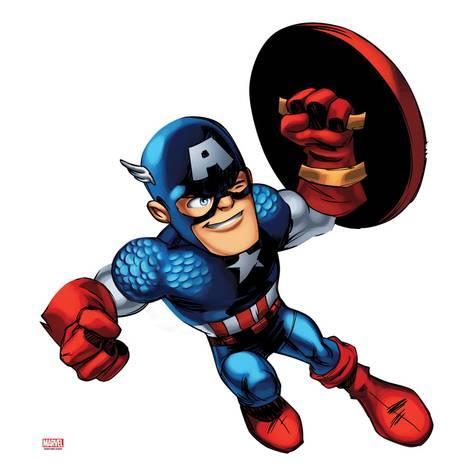 473x473 Marvel Super Hero Squad Captain America Jumping Poster