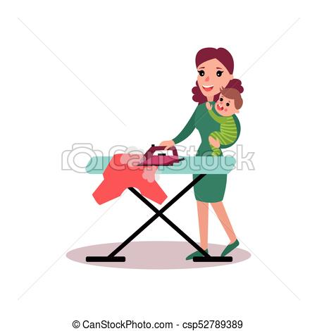 450x470 Mother Ironing Clothes With Baby In Her Arms, Super Mom Vector