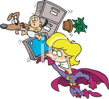 350x317 Supermom Cartoon Of A Mother Doing Everthing