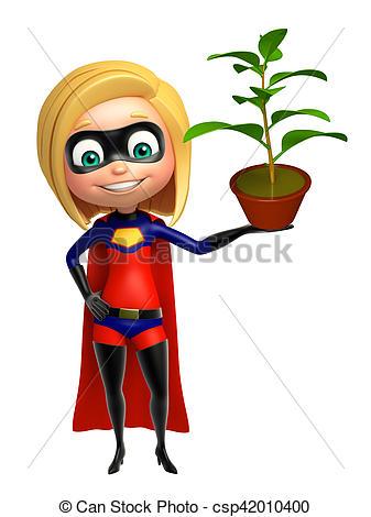 337x470 Supergirl With Plant. Supergirl With Plant Stock Illustration
