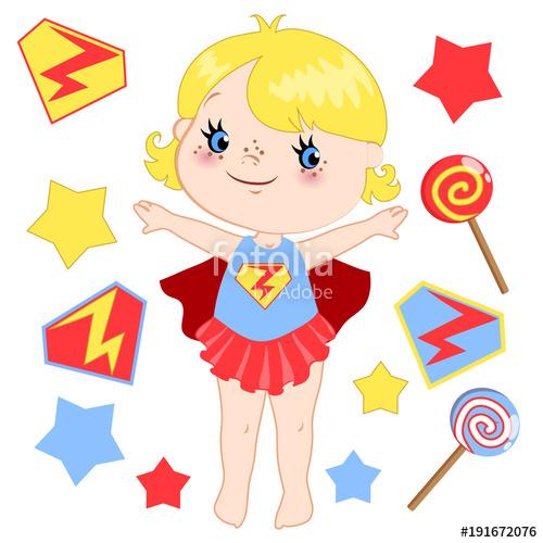 500x500 Cute Cartoon Superhero Girl Vector Clip Art Set. Stock Image