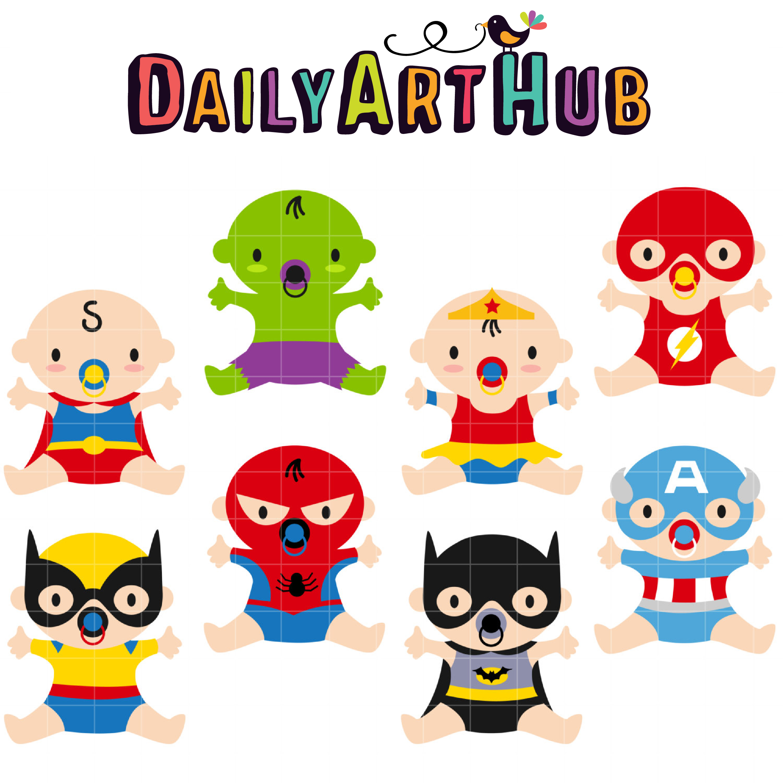 2501x2502 Superhero Babies Clip Art Set Daily Art Hub Free Clip Art Everyday