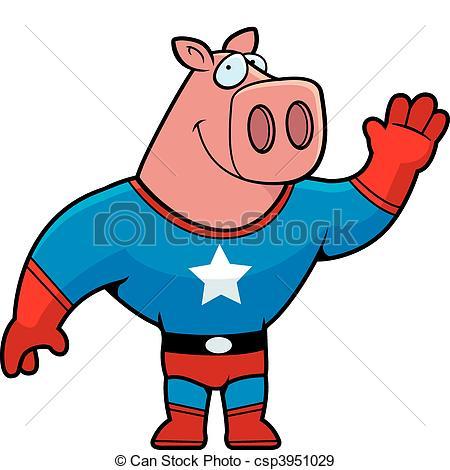 450x470 Superhero Pig Waving. A Happy Cartoon Pig Superhero Waving Eps
