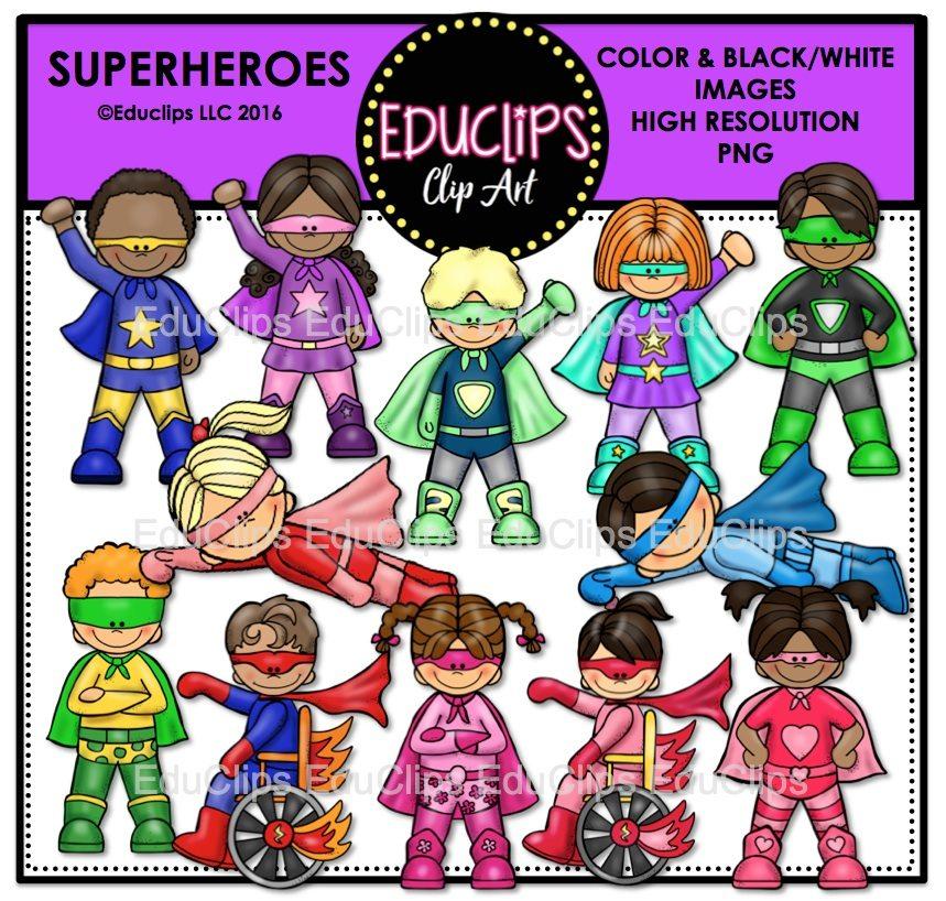 859x818 Superheroes Clip Art Bundle (Color And Bampw)