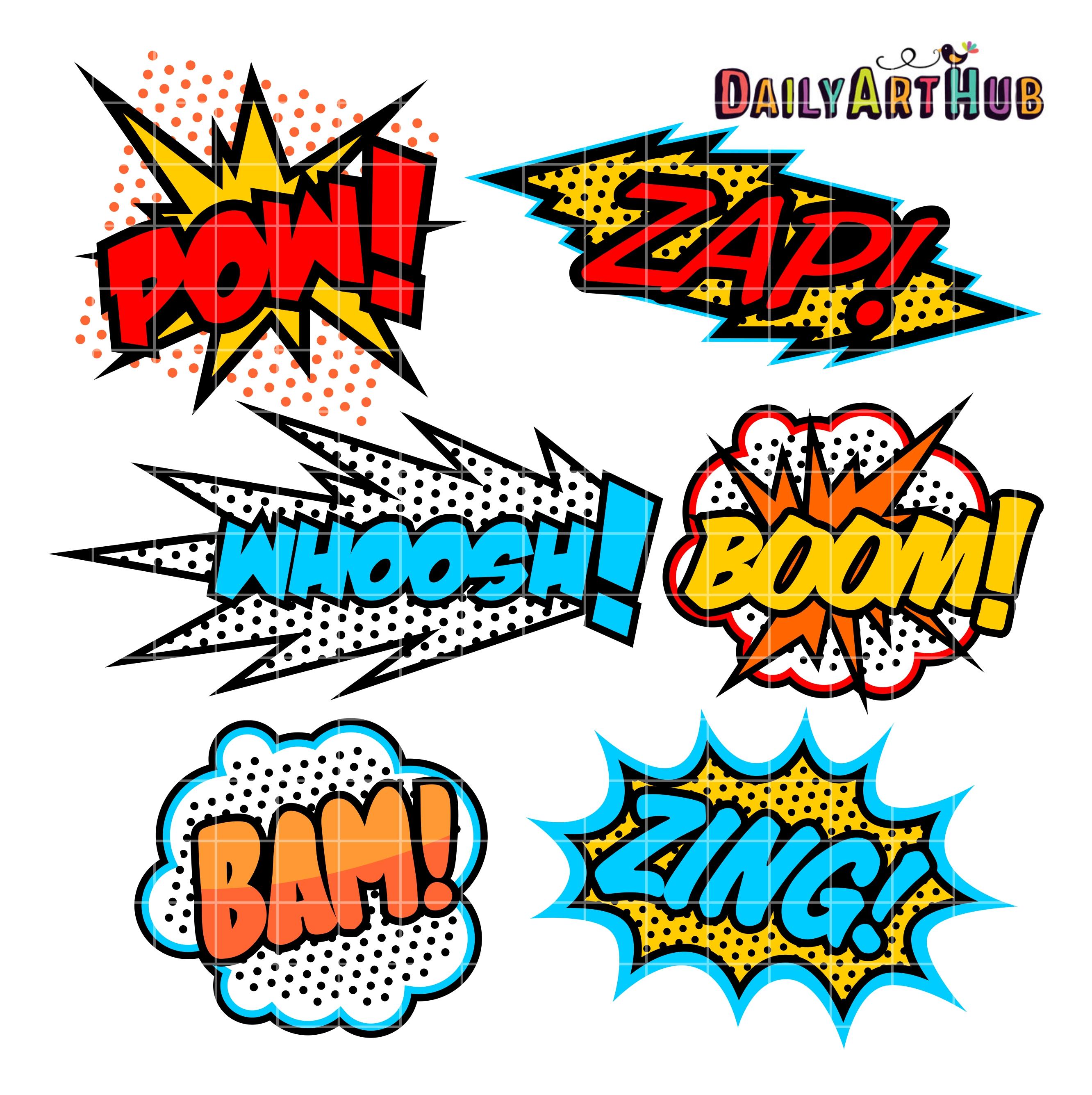 2664x2670 Superhero Callout Clip Art Set Daily Art Hub Free Clip Art