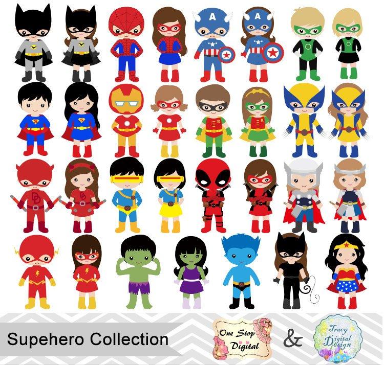 750x714 62 Little Girl Superheros Digital Clip Art, Little Boy Superhero