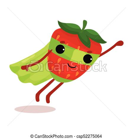 450x470 Flat Cartoon Superhero Strawberry In Green Cape And Mask Clip