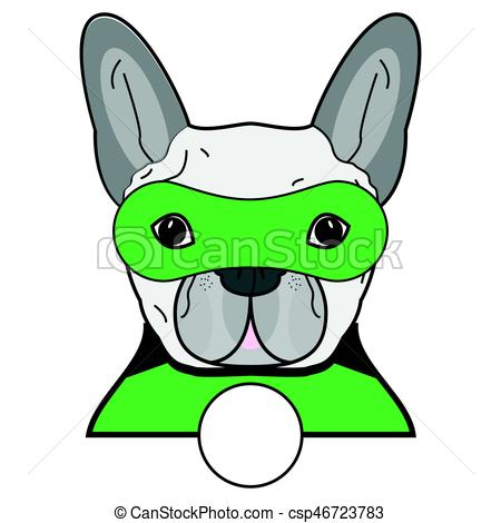 450x470 Superhero Symbol As A French Bulldog Character In Black, Vector