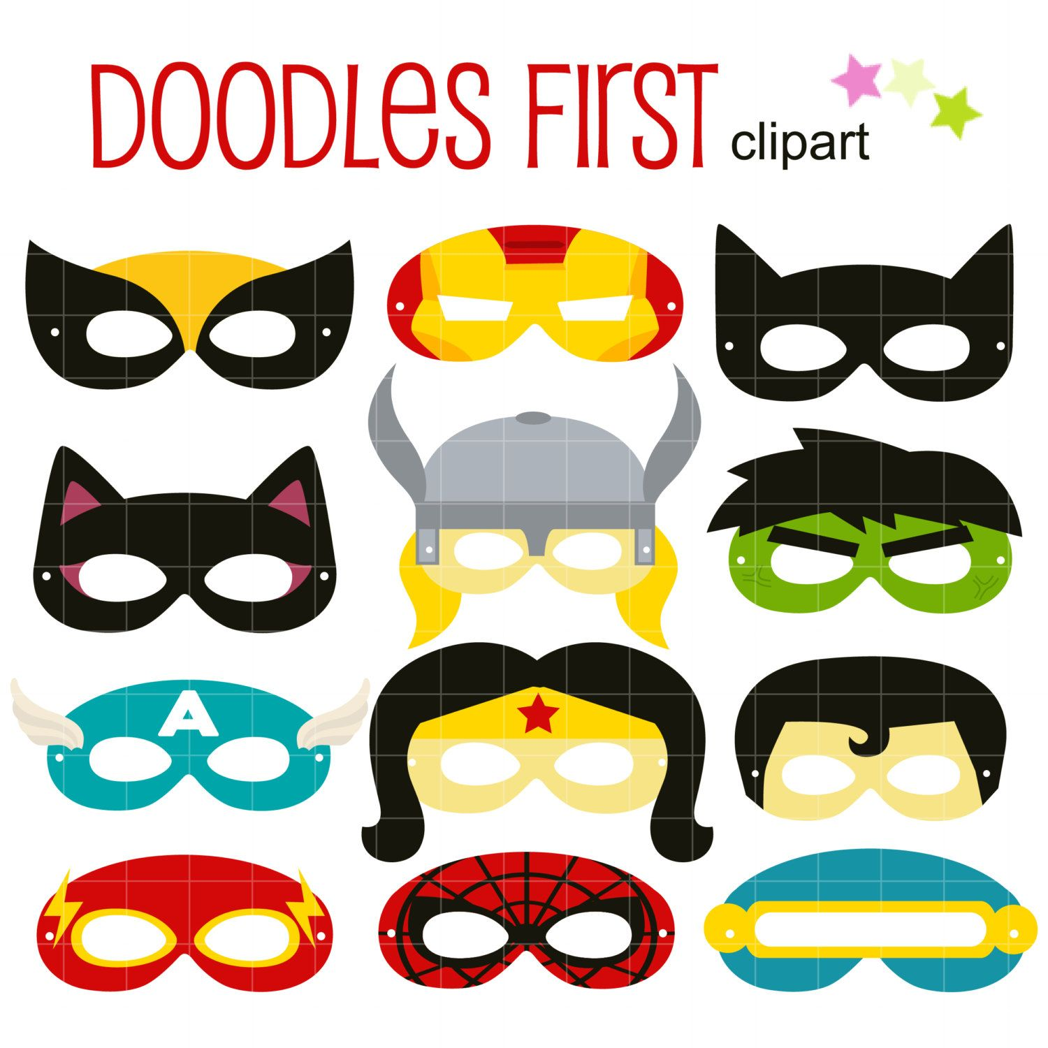 1500x1500 Superheroes Party Mask Digital Clip Art For Scrapbooking Card