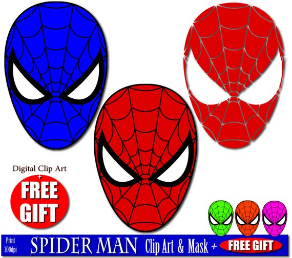 570x504 Digital Clip Art Spiderman Mask Superhero Party Masks Clipart