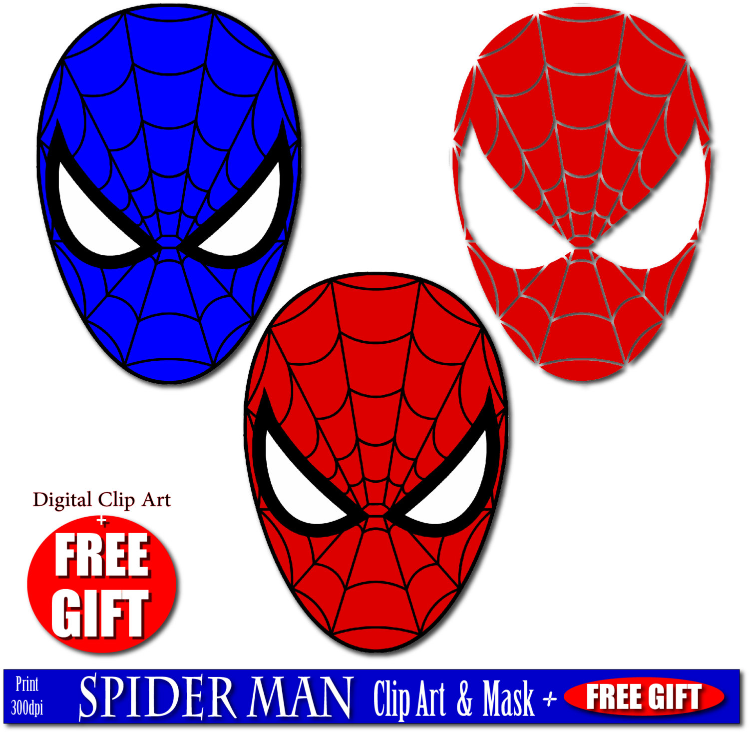 1500x1481 Digital Clip Art Spiderman Mask Superhero Party Masks Clipart