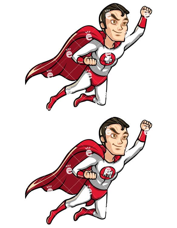 585x755 Male Nurse Superhero Flying Like Superman Cartoon Clipart