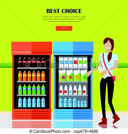 450x470 Woman In Supermarket. Best Choice Concept. Smiling Woman Vector