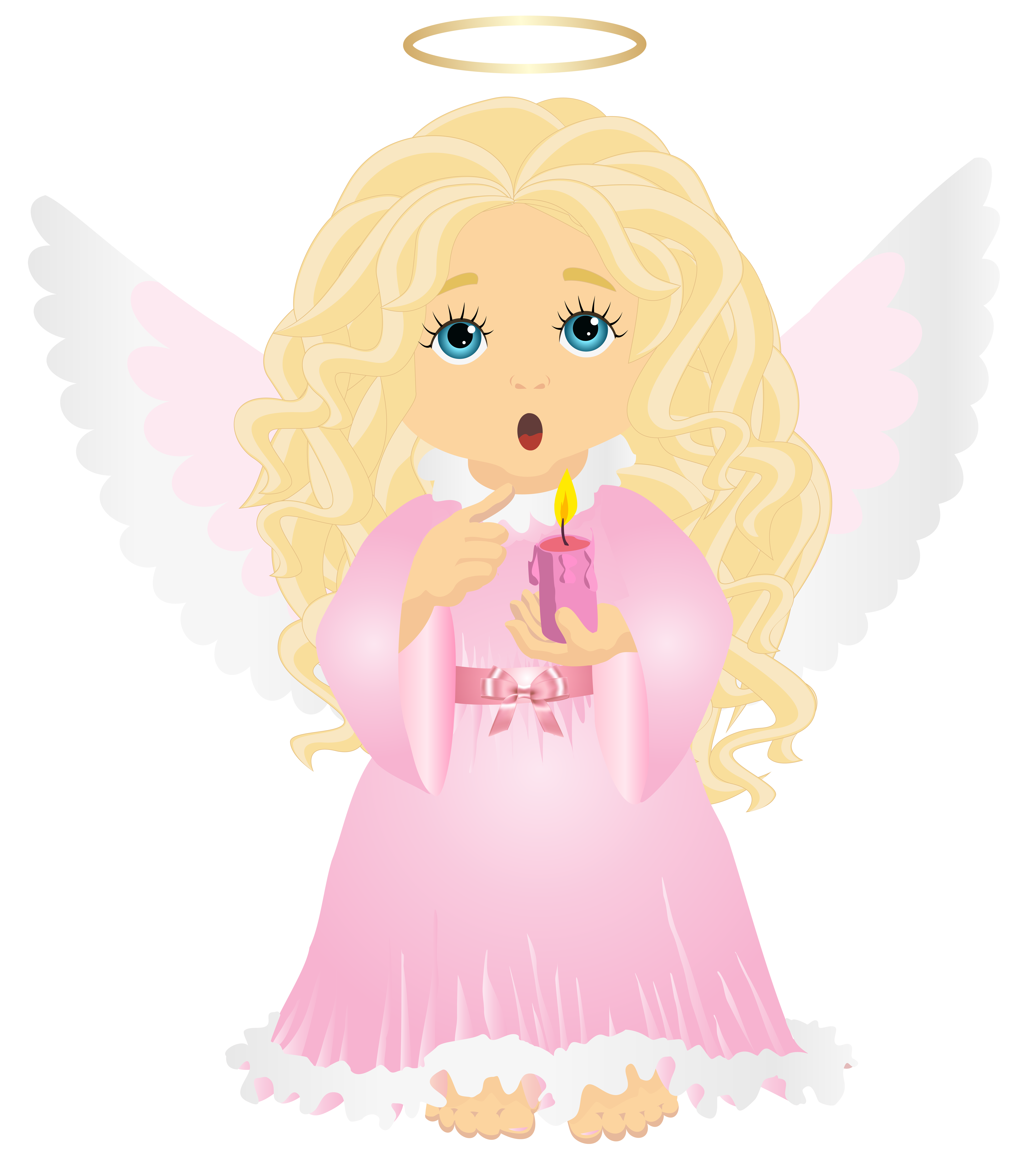 6993x8000 Cute Blonde Angel With Candle Transparent Png Clip Art Image