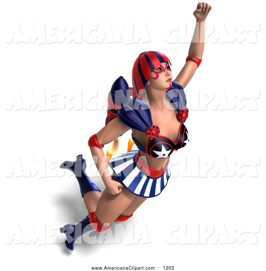 1024x1044 Americana Vector Clip Art Of A 3d American Super Woman Flying