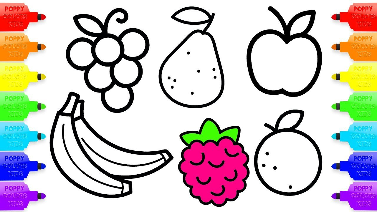 1280x720 Raspberry Coloring Page