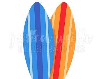 340x270 Surfboards Clipart Set 12 Scrapbooking Digital Images Beach