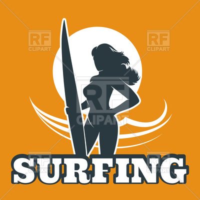400x400 The Woman With Surfboard And Inscription Royalty Free Vector Clip