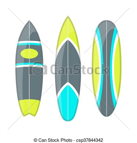 450x470 Vector Set Of Decorated Colorful Surfboards. Different Eps