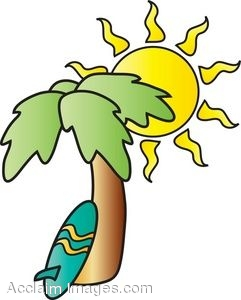 241x300 Clip Art Illustration Of A Surfboard Under A Palm Tree