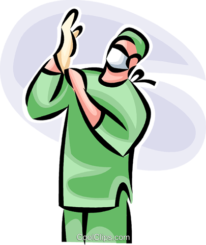 405x480 Doctor Getting Ready For Surgery Royalty Free Vector Clip Art