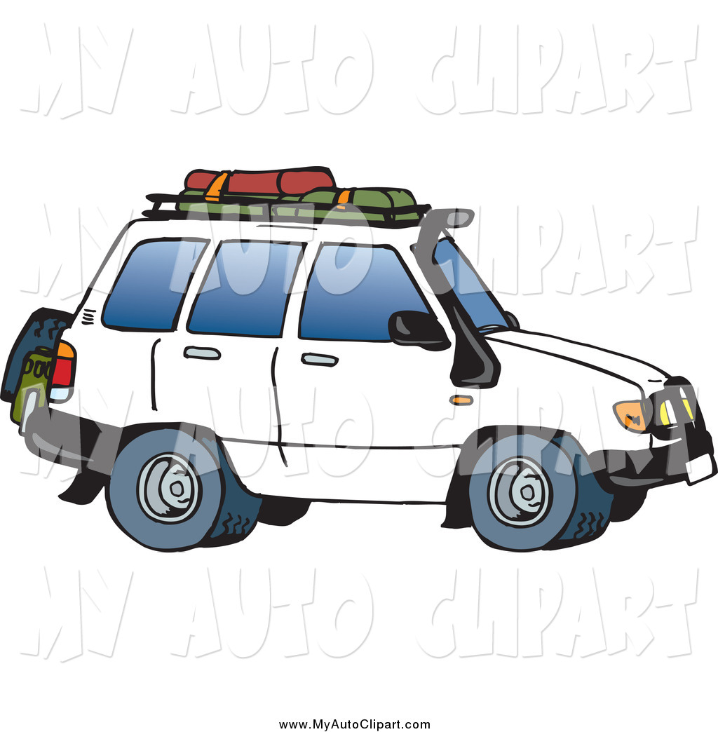 1024x1044 Clip Art Of A White Suv With Luggage By Dennis Holmes Designs