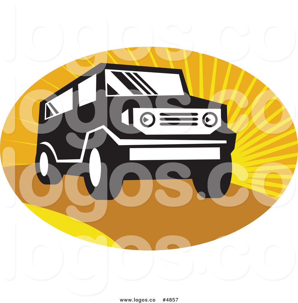 1024x1044 Royalty Free Vector Of A Black And White Suv In An Oval Of Rays